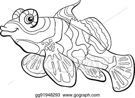 EPS Vector - Mandarin fish coloring page. Stock Clipart Illustration ...