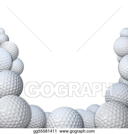 Clip Art Many Golfballs As Golf Sports Border Copy Space Stock Illustration Gg55581411 Gograph