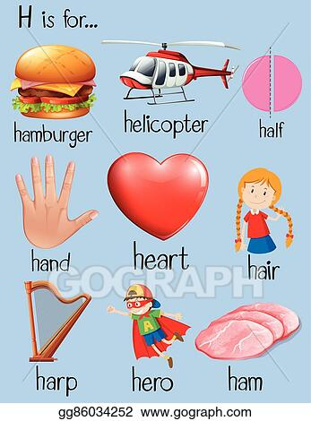 eps vector - many words begin with letter h. stock clipart