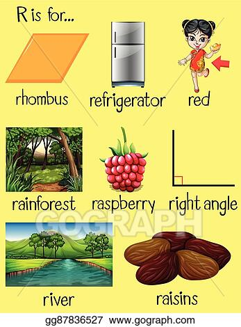 vector stock many words begin with letter r clipart illustration