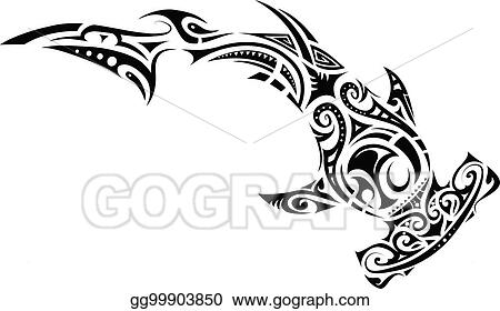 1720c0d10 EPS Vector - Maori style hammer shark tattoo. Stock Clipart ...