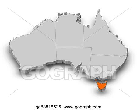 Map Australia Tasmania.Clip Art Map Australia Tasmania 3d Illustration Stock