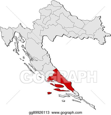 Vector Illustration - Map - croatia, split-dalmatia. Stock Clip Art ...