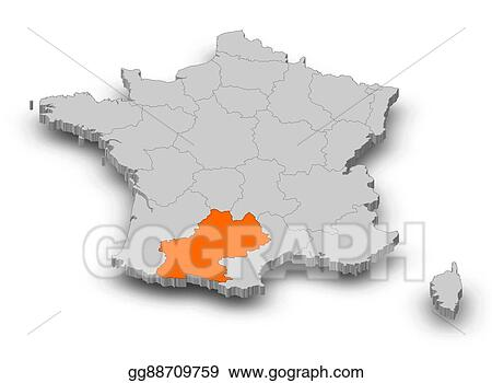 Map Of France Drawing.Drawing Map France Midi Pyrenees 3d Illustration Clipart