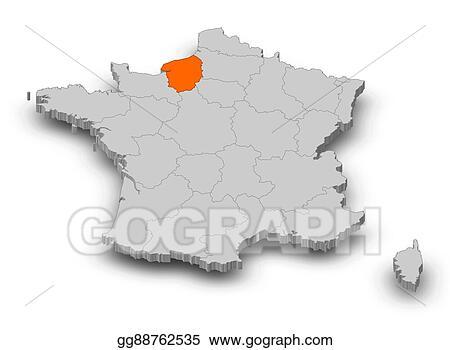Clipart Map France Upper Normandy 3d Illustration Stock
