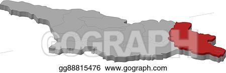 Map Of Kakheti Georgia.Clip Art Vector Map Georgia Kakheti 3d Illustration Stock