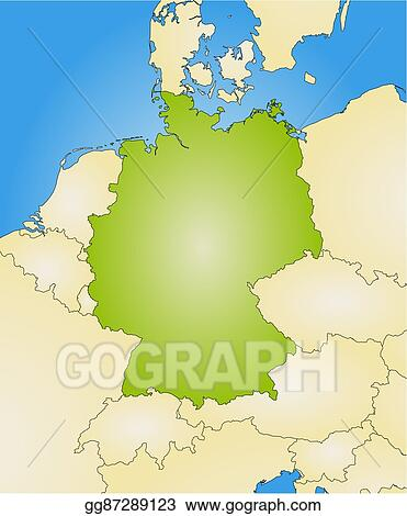 Map Of Germany And Surrounding Countries.Vector Art Map Germany Eps Clipart Gg87289123 Gograph