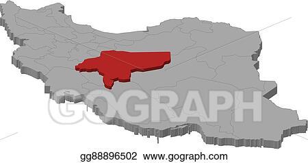 Vector Illustration - Map - iran, isfahan - 3d-illustration. EPS ...