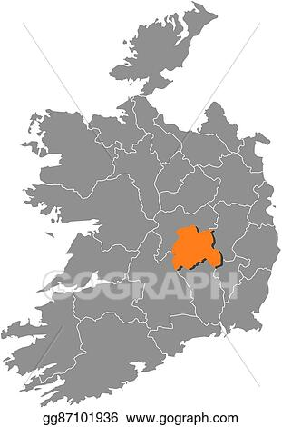 Detailed Map Of Ireland Vector.Eps Illustration Map Ireland Laois Vector Clipart Gg87101936