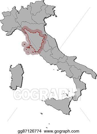 Tuscany Map Of Italy.Vector Art Map Italy Tuscany Eps Clipart Gg87126774 Gograph