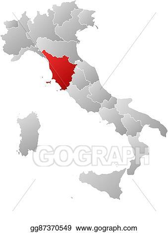 Tuscany Map Of Italy.Vector Art Map Italy Tuscany Eps Clipart Gg87370549 Gograph