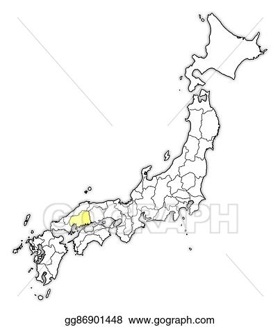 Hiroshima Map Of Japan.Vector Stock Map Japan Hiroshima Clipart Illustration
