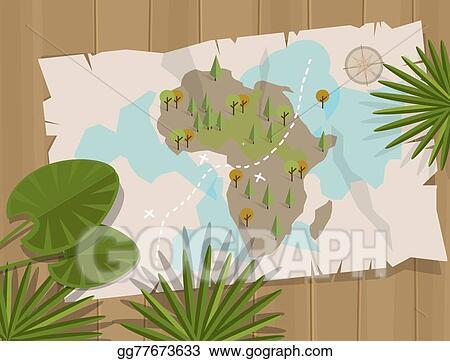 Vector Illustration Map Jungle Africa Cartoon Treasure Hunter Eps