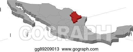 Eps Illustration Map Mexico Nuevo Leon 3d Illustration