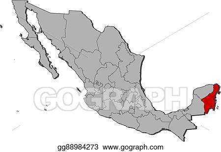 Vector Illustration Map Mexico Quintana Roo Stock Clip Art