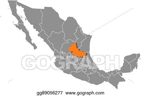 Eps Vector Map Mexico San Luis Potosi Stock Clipart