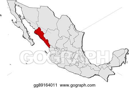 Mexico Map Sinaloa.Vector Clipart Map Mexico Sinaloa Vector Illustration