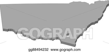 3d Map Of South Australia.Vector Clipart Map New South Wales Australia 3d Illustration