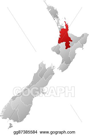 New Zealand Provinces Map.Vector Art Map New Zealand Waikato Clipart Drawing Gg87385584