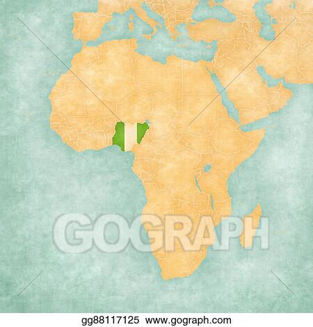 Map Of Africa Showing Nigeria.Clip Art Map Of Africa Nigeria Stock Illustration Gg88117125