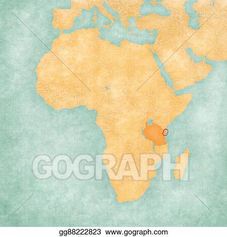 Map Of Africa Zanzibar.Drawings Map Of Africa Zanzibar Stock Illustration Gg88222823