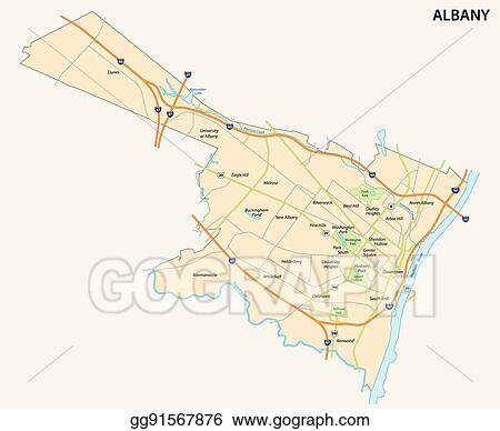 Vector Illustration - Map of albany the capital of the us ...