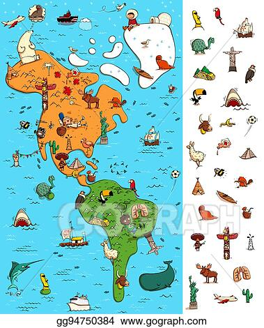 Map Of America Clipart.Vector Clipart Map Of America Visual Game Locate Isolated Items