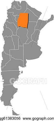 Vector Stock - Map of argentina, santiago del estero ...