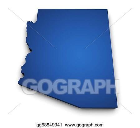 3d Map Of Arizona.Drawing Map Of Arizona State 3d Shape Clipart Drawing Gg68549941