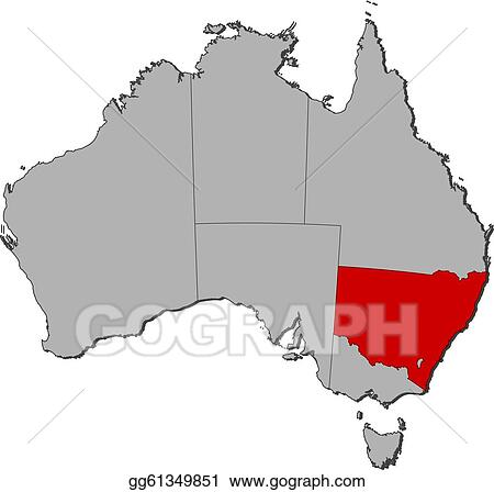 Map Of Australia New South Wales.Vector Art Map Of Australia New South Wales Highlighted Eps