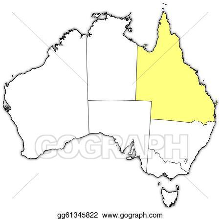 Map Of Australia Highlighting Queensland.Vector Illustration Map Of Australia Queensland Highlighted