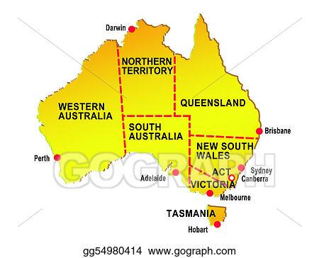 Map Of States Of Australia.Stock Illustration Map Of Australia Showing Eight States And Major