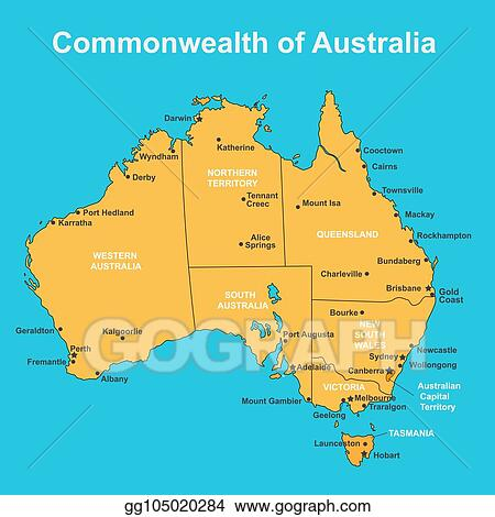 Map Of Australia And Cities.Vector Stock Map Of Australia With Major Towns And Cities