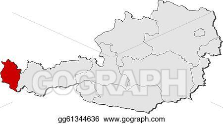 Vector Stock - Map of austria, vorarlberg highlighted. Clipart ...