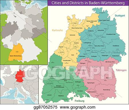 Map Of Germany Karlsruhe Baden.Vector Stock Map Of Baden Wurttemberg Stock Clip Art Gg87052575