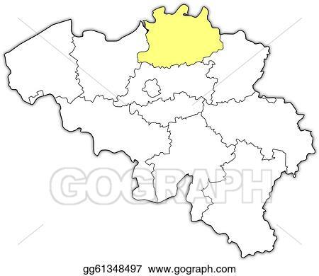 Belgien Karte Umriss.Eps Illustration Map Of Belgium Antwerp Highlighted Vector