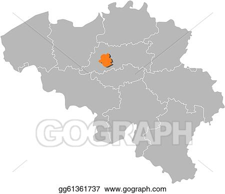 Vector Art - Map of belgium, brusseles highlighted. Clipart ...
