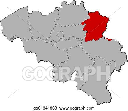 Vector Stock - Map of belgium, limburg highlighted. Stock ...
