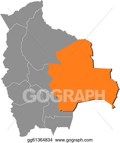 Vector Stock Map Of Bolivia Santa Cruz Highlighted Clipart