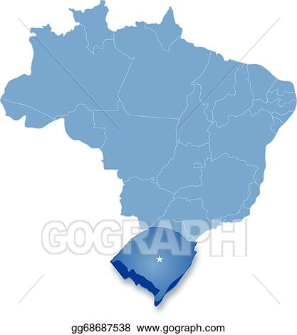 Vector Art  Map of brazil where rio grande do sul is pulled out