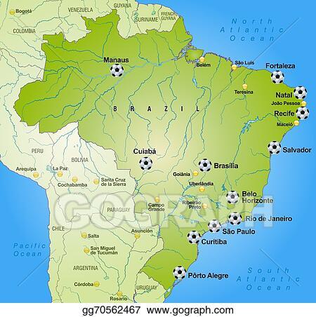 Stock Illustrations Map of brazil with football stadium Stock