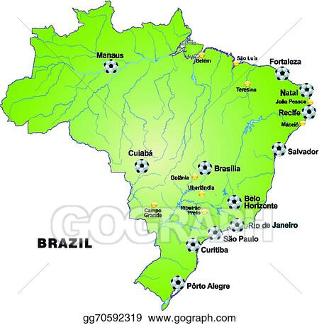 EPS Vector - Map of brazil with football stadium. Stock ...