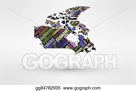 Small Map Of Canada.Vector Stock Map Of Canada Theme Of Economy And Global Finance