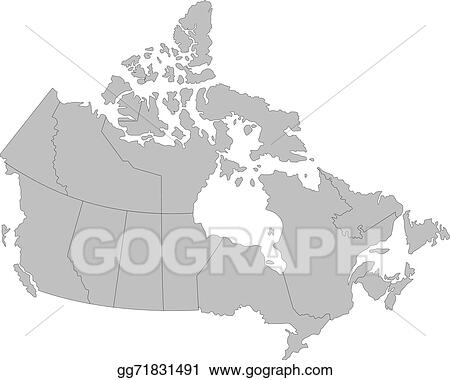 Simple Map Of Canada.Vector Clipart Map Of Canada Vector Illustration Gg71831491 Gograph