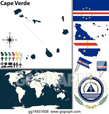 Where Is Cape Verde Located On The World Map.Vector Illustration Map Of Cape Verde Eps Clipart Gg74931608