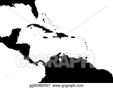 Vector Art - Map of caribbean region and central america. black land ...