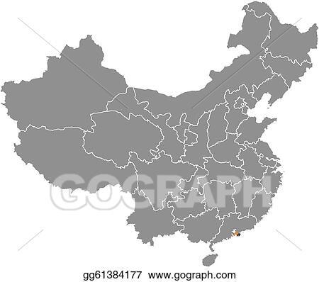 Vector Illustration - Map of china, hong kong highlighted ...