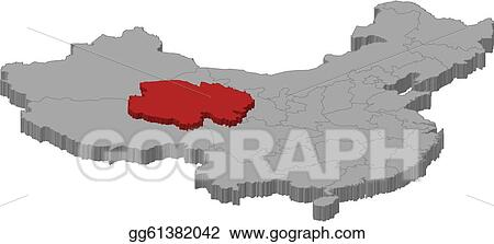 Vector Clipart - Map of china, qinghai highlighted. Vector ...