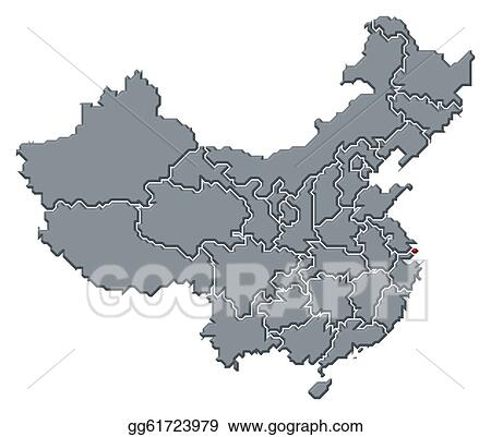 Drawing Map Of China Shanghai Highlighted Clipart Drawing