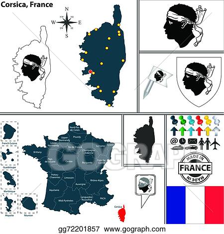 Vector Art Map Of Corsica France Eps Clipart Gg72201857 Gograph